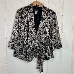 Alex Evening 2X black/metallic flower print blazer